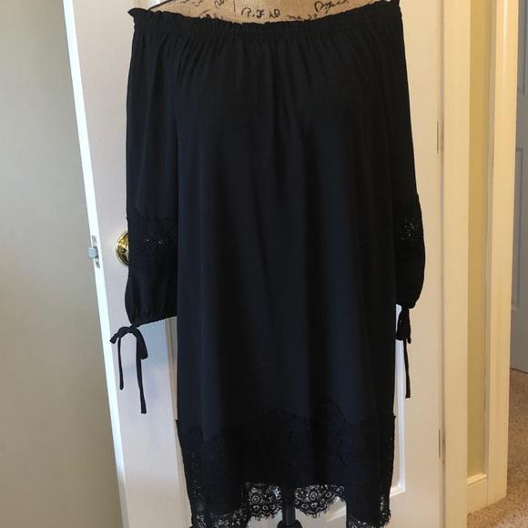 LOFT Dresses & Skirts - Loft Off the Shoulder Black Dress